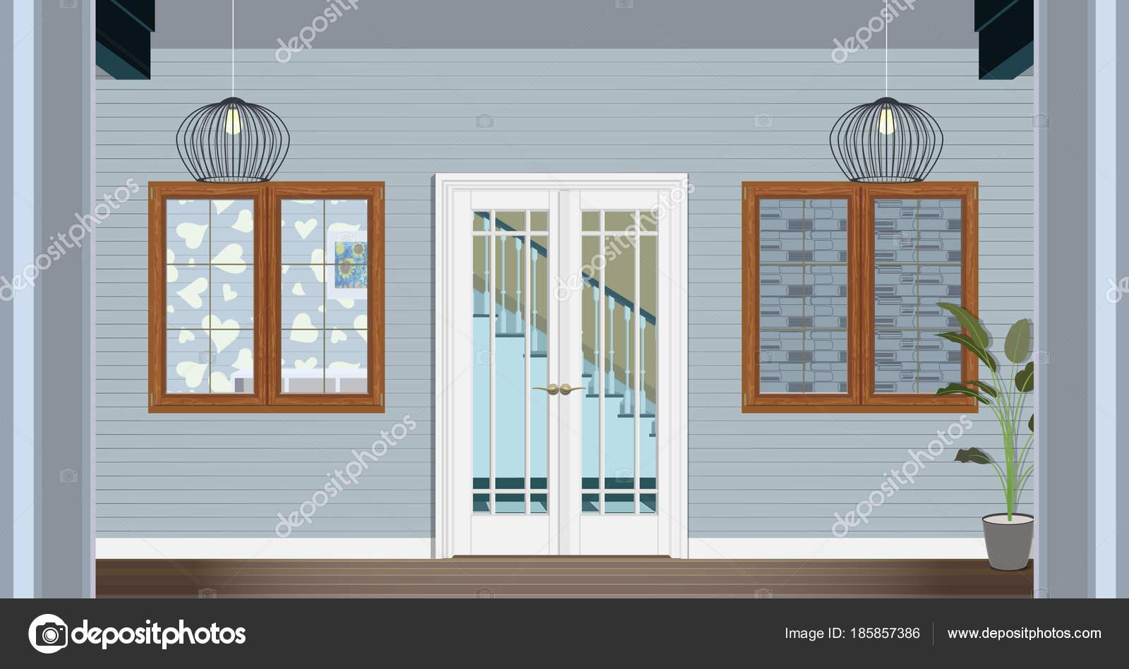 Interni Di Una Casa Di Campagna : Illustrazione della porta d ingresso di una casa di campagna all