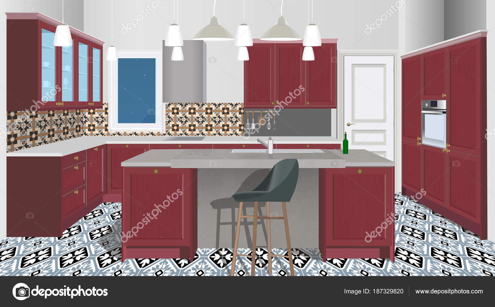 Burgundy Kitchen Interior Background With Furniture Design