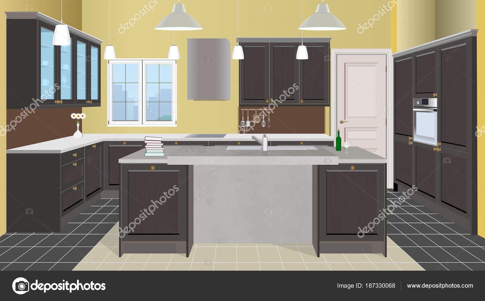 Bown Fundo Interior De Cozinha Com M Veis Projeto De Cozinha