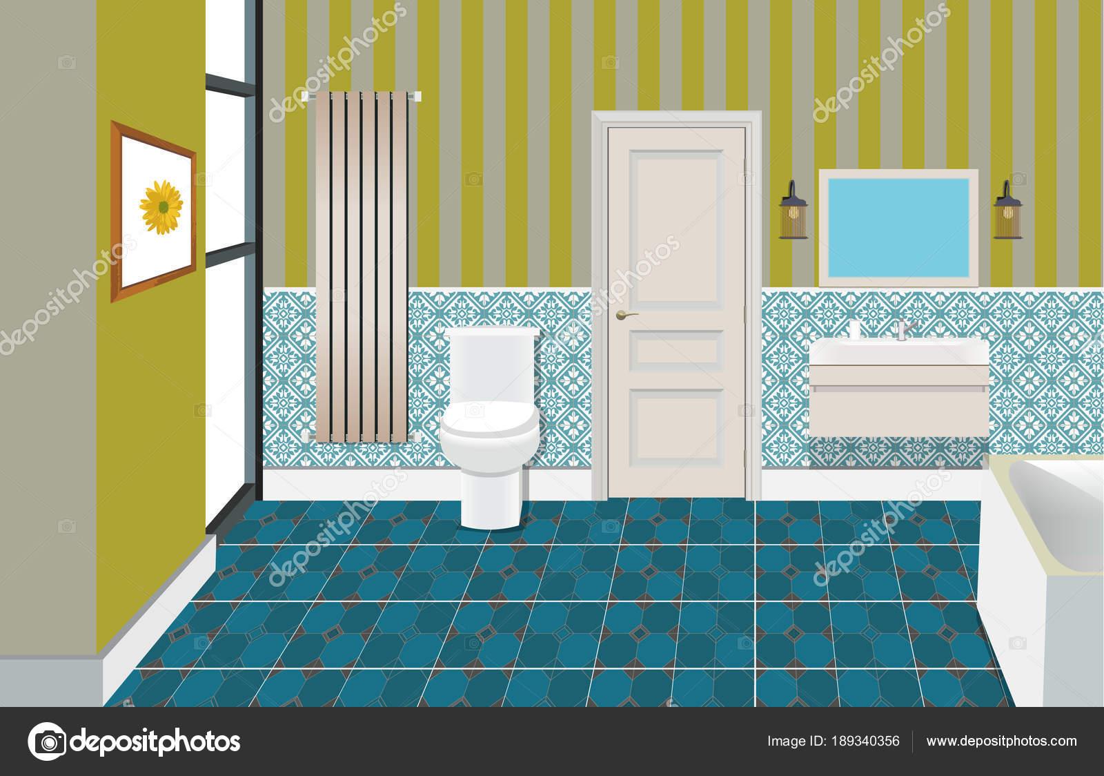 Badezimmer Interieur Hintergrund Mit Möbeln. Design Der Moderne Badezimmer  U2014 Vektor Von Zuich Zpb