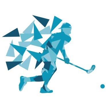 Floorball man player floor hockey abstract background illustrati
