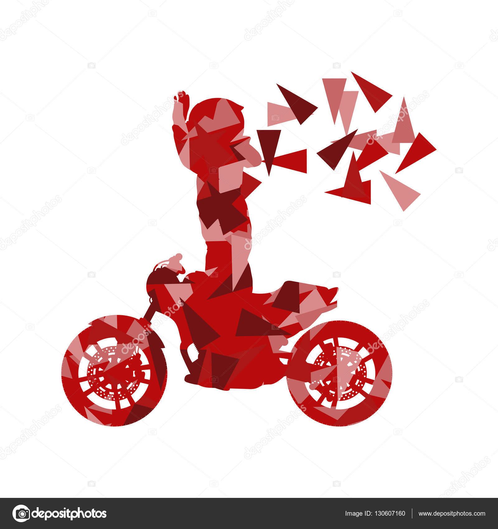 Vector de conductor motociclista realizó acrobacias extremas Resumen ...