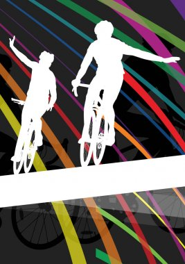 Cyclist active man and woman bicycle riders in abstract sport la