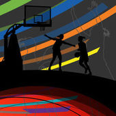 Basketball players young active women healthy sport silhouettes