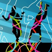 Street dancers young active and healthy people silhouettes vecto