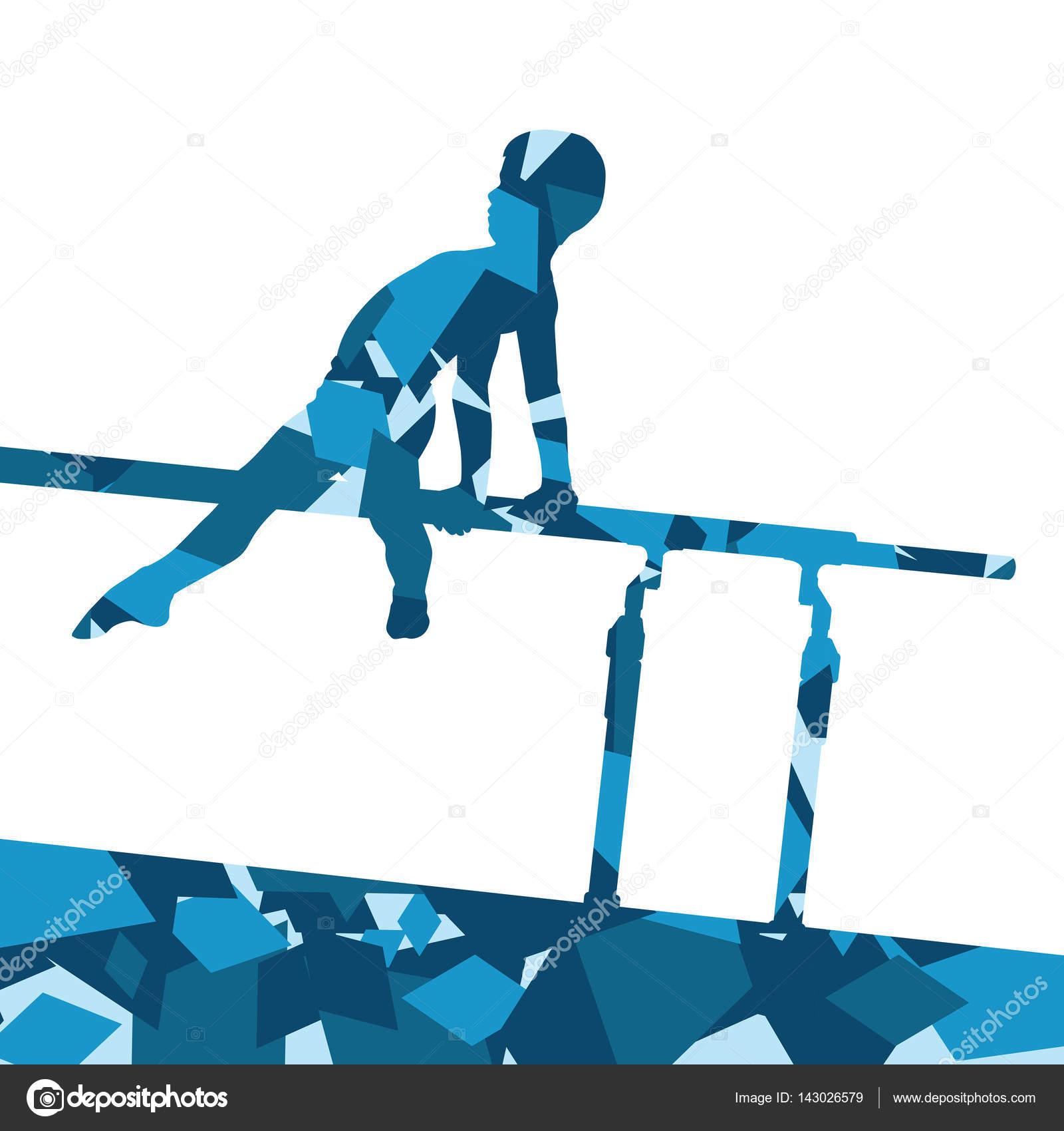 03437d5544cb Silueta de deporte de niño niños en barras paralelas en abstrac — Archivo  Imágenes Vectoriales