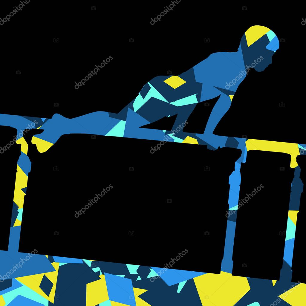 e31a8633b0e1 Silueta de deporte de niño niños en barras paralelas en abstrac — Archivo  Imágenes Vectoriales © k3studija #143026655