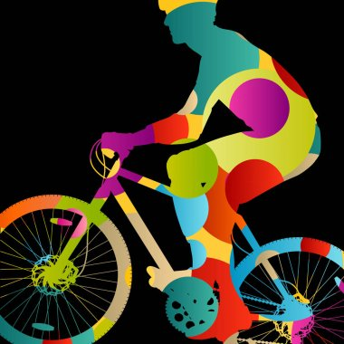 Cyclist active man bicycle riders in abstract sport landscape ci