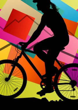 Cyclist active woman bicycle rider in abstract sport landscape b
