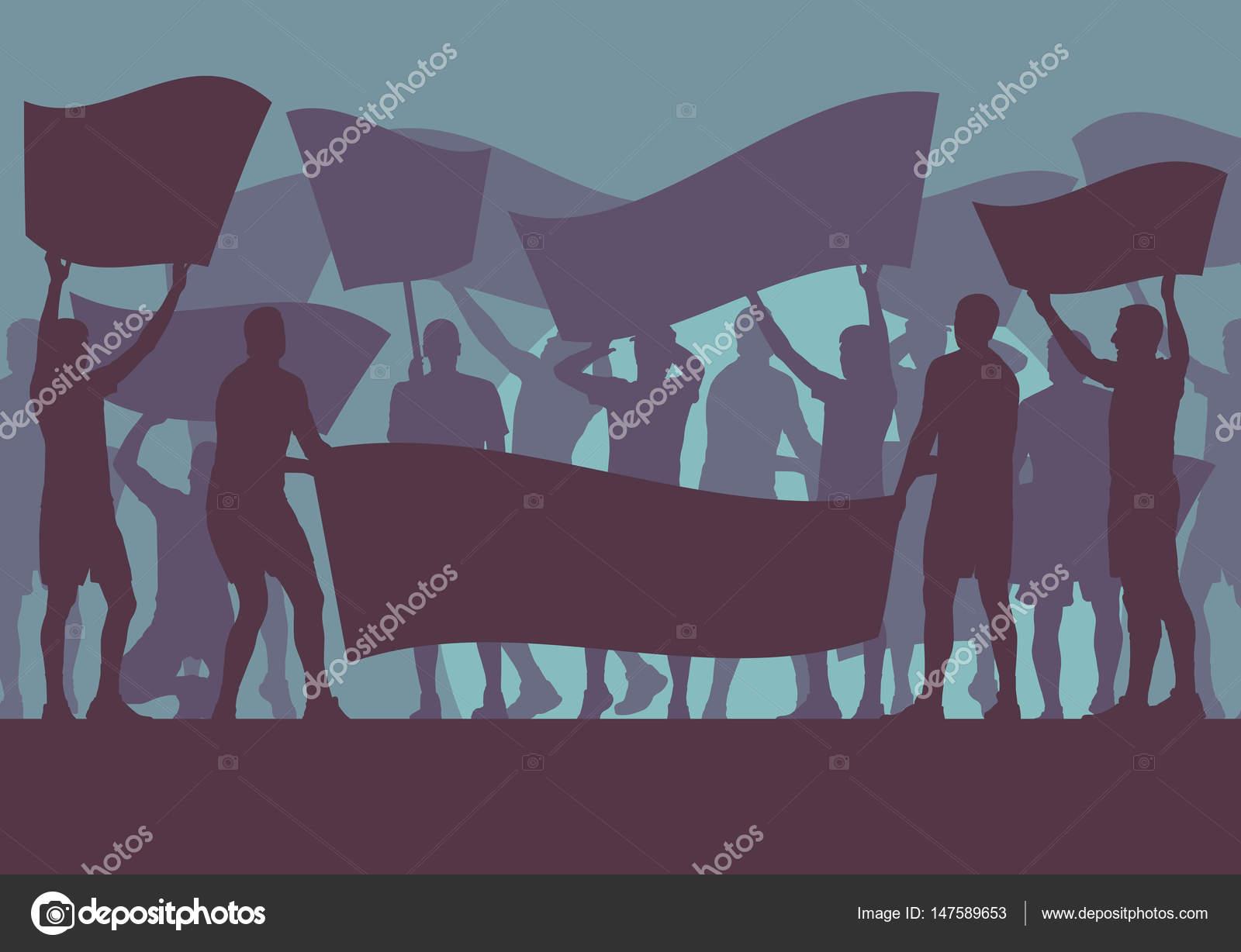 Multitud De Gente Silueta: Multitud De Personas De Protesta Y Fondo De Vector De