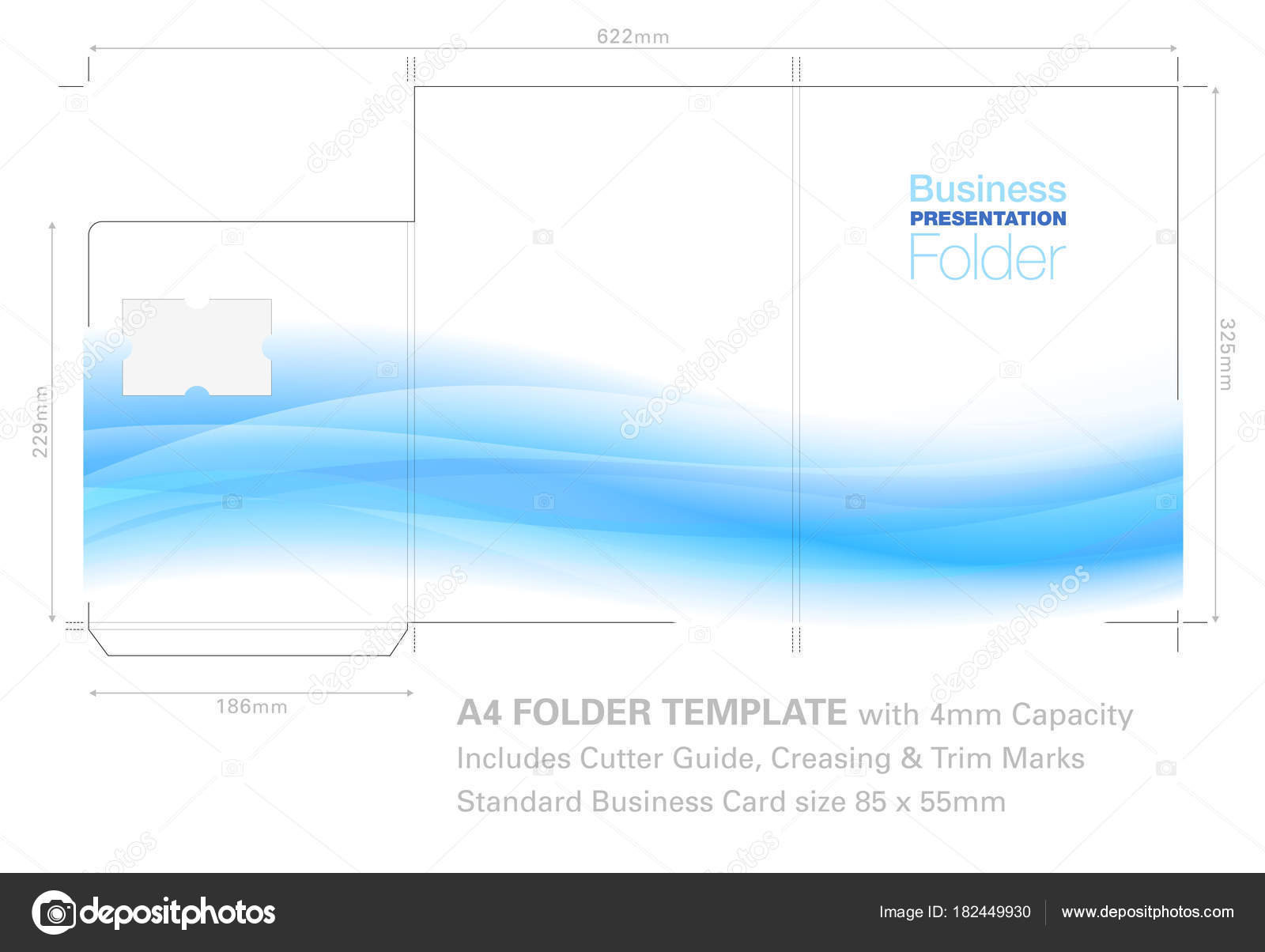 a4 presentation folder template with flow background graphic stock