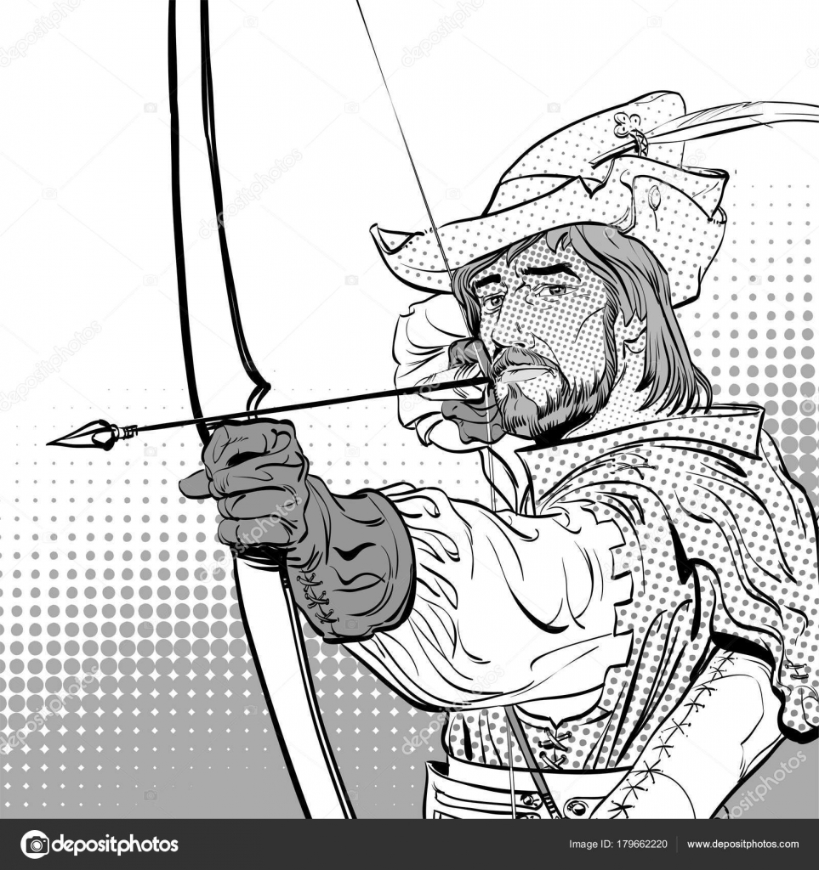 Robin Hood con el objetivo en el blanco. Robin Hood pie con arco y ...
