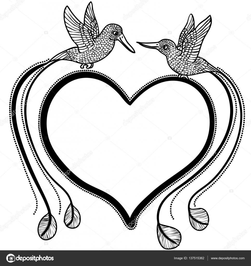 Vektor-Illustration von Kolibris in Liebe und Herz Form Rahmen ...