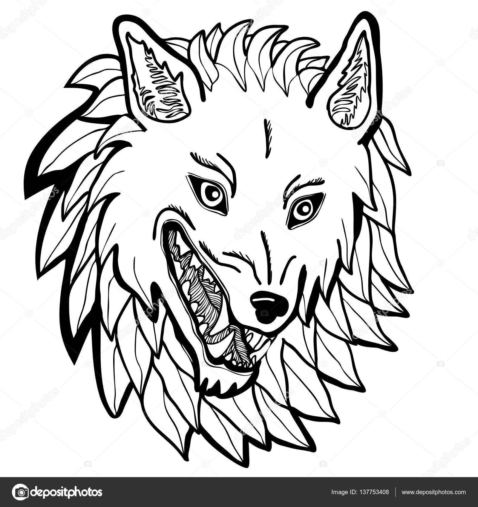 Vector Illustration Of Dire Wolf Head Black And White €� Stock Vector  #137753408
