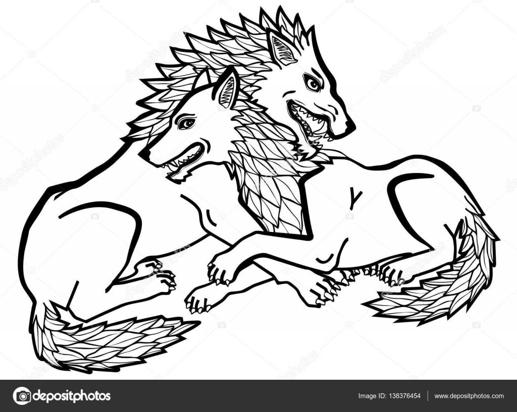 Ilustración De Vector De Lobos En Blanco Y Negro De Amor