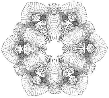 vector illustration of twelve ravens mandala black and white