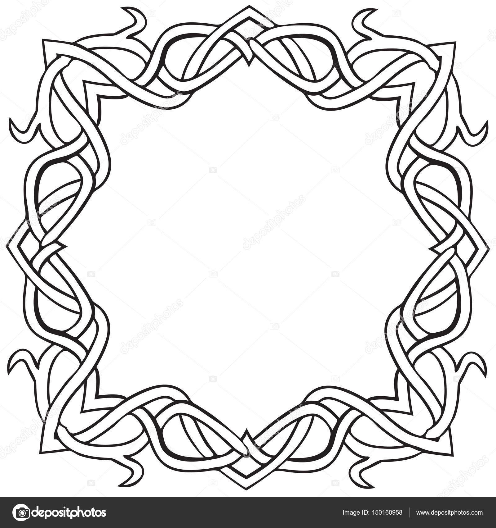 Ilustración de vector de nudo celta cuadrado blanco y negro ...