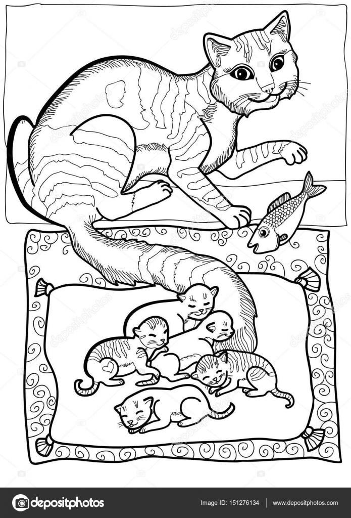 Familia de gatos para colorear | Madre de gato ilustración de vector ...