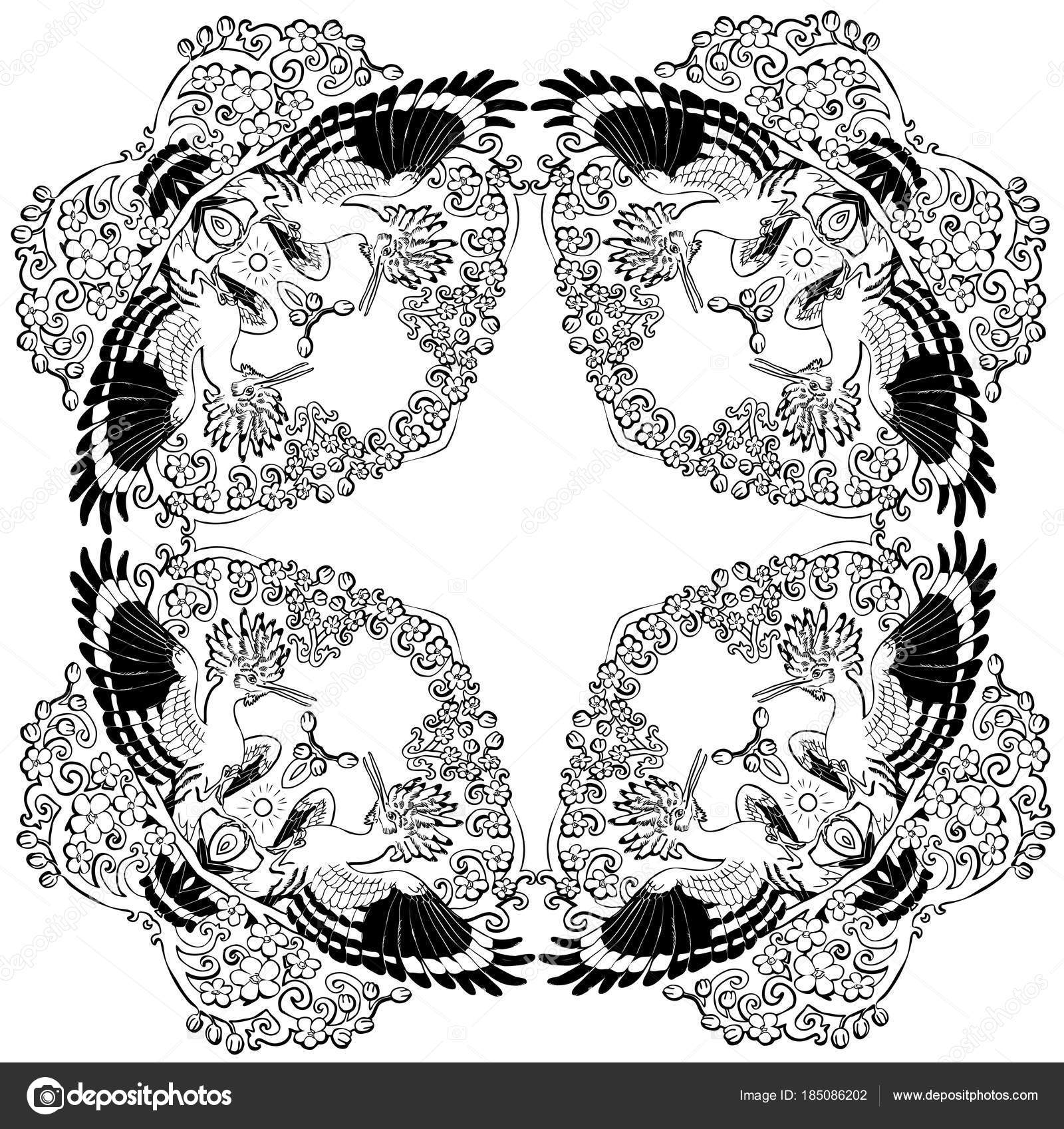 Mandala De Huppe Fasciée Vector Illustration Ornement Floral