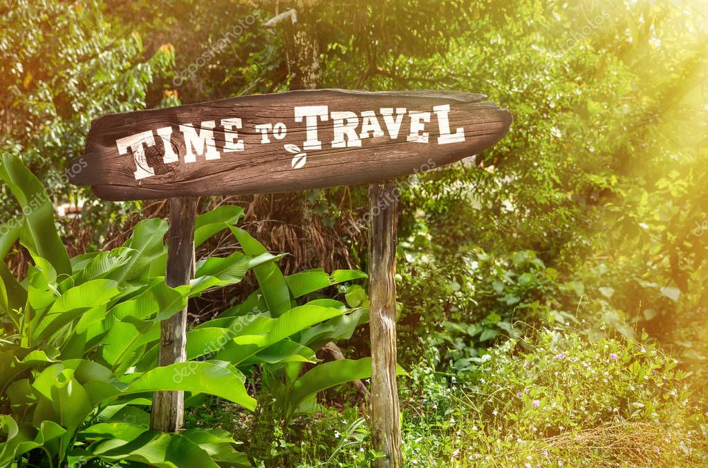 Time travel wooden sign on the background of the jungle. Aarrow, green palm trees