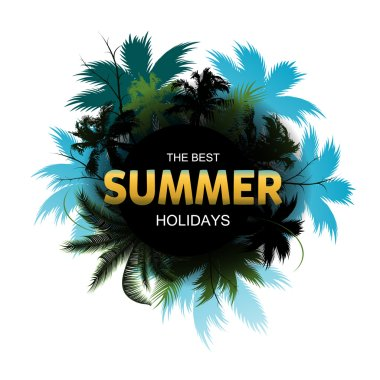 Summer Tropical Exotic Leaves and Branches composition with gold lettering