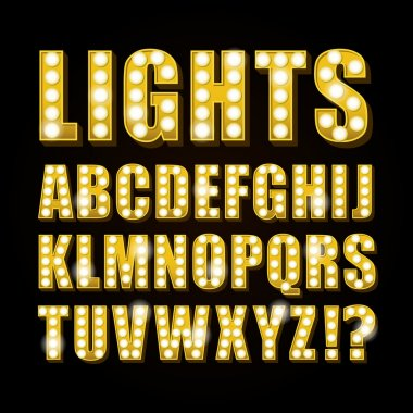 Vector yellow neon lamp letters font show casino or theather