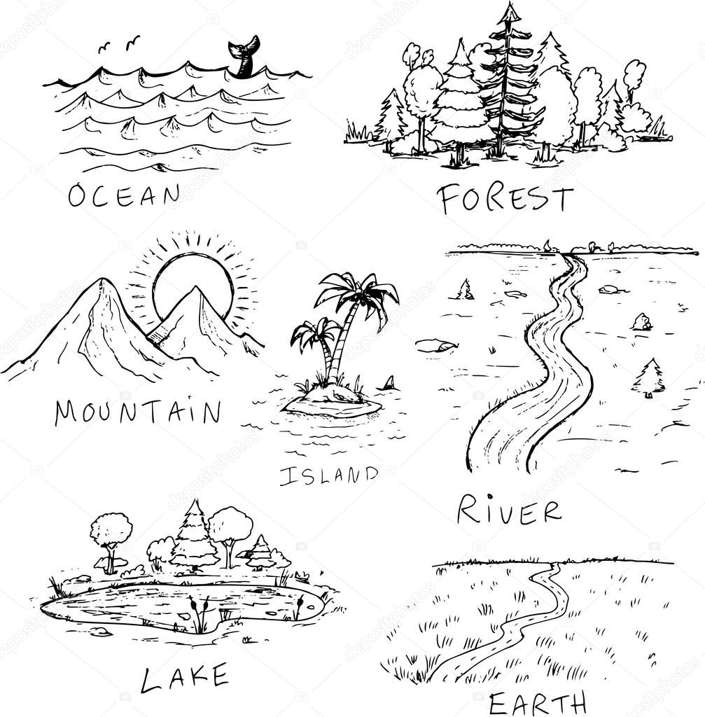 DIfferent hand drawn nature landscapes