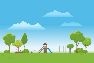 Spring landscape background. Public park Vector illustration.