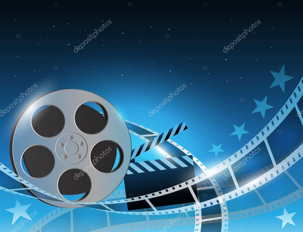 Vector illustration of a film stripe reel on abstract movie background stock vector