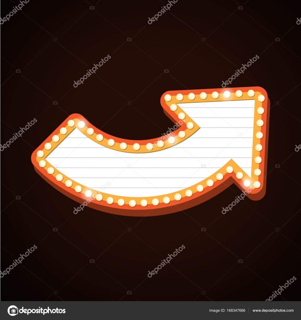 Pfeil Billboard Retro-Licht Rahmen Theater Zeichen — Stockvektor ...