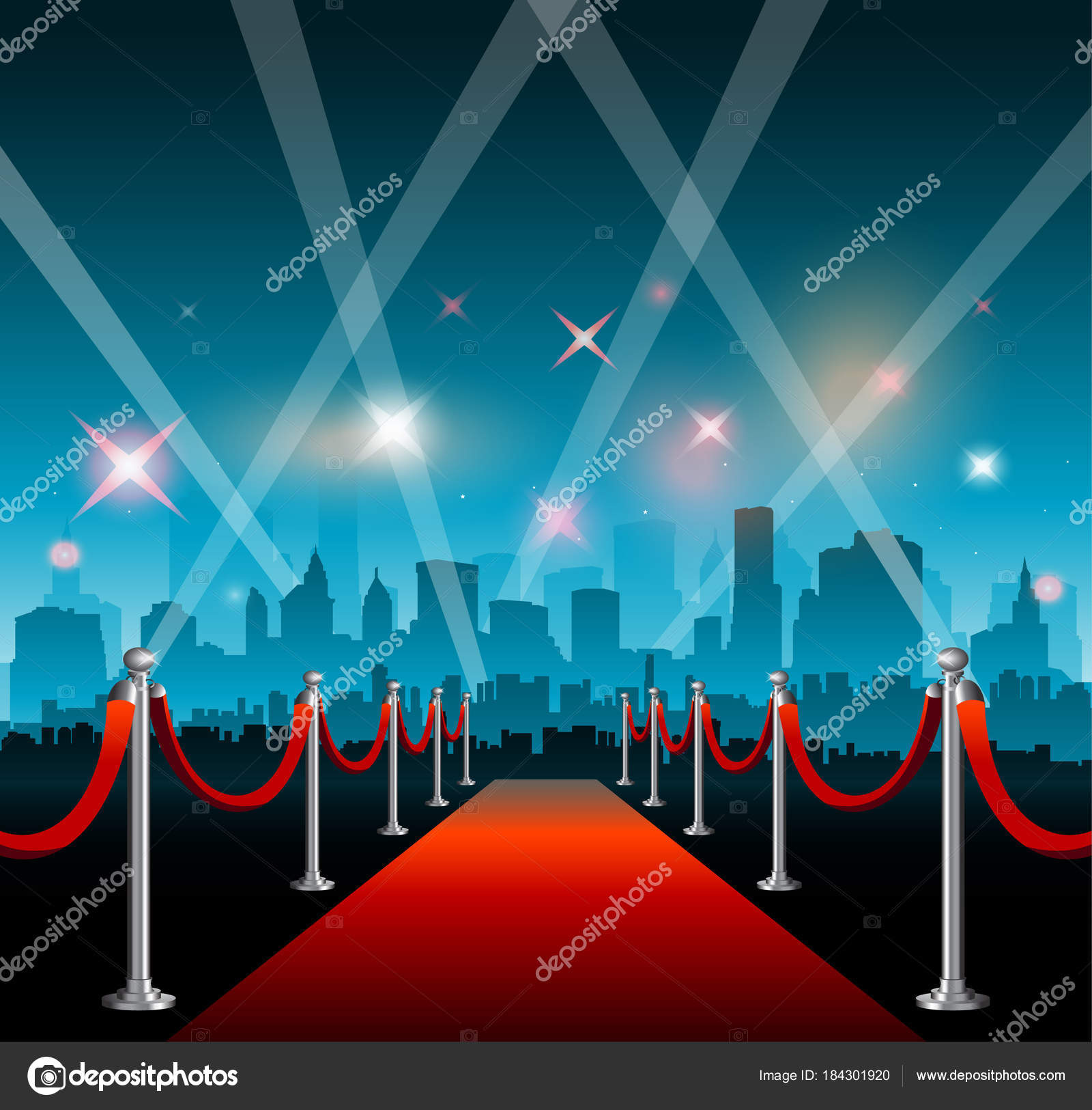 Hollywood movie red carpet background and city — Stock Vector