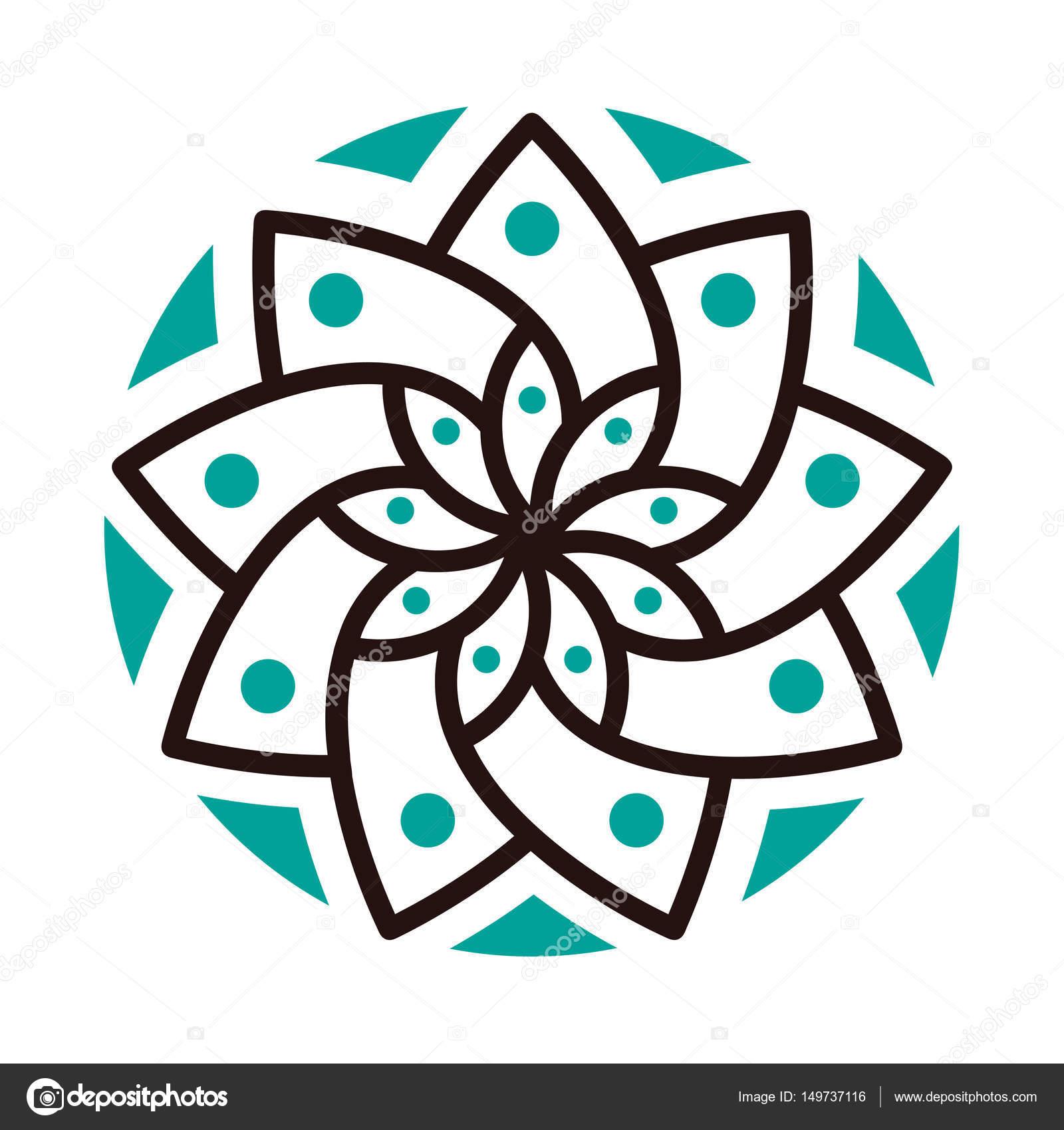Basit Geometrik Mandala Logo Butik çiçekçi Iş Iç Için Dairesel