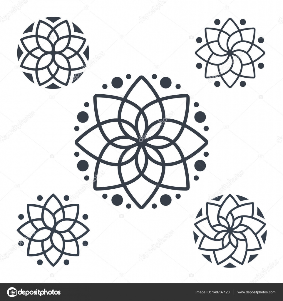 Circular Logo For Boutique Flower Shop Business Interior Simple Floral Mandala Pattern Coloring Book Pages Tattoo Prints And Decorative Stamps