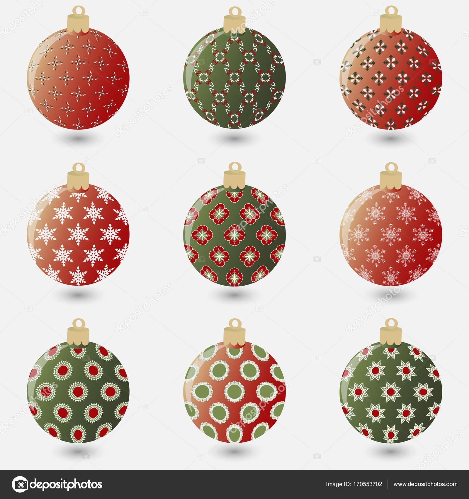 Vector Conjunto De Abstracto Decorativo Con Motivos De Bolas De - Motivos-navidad