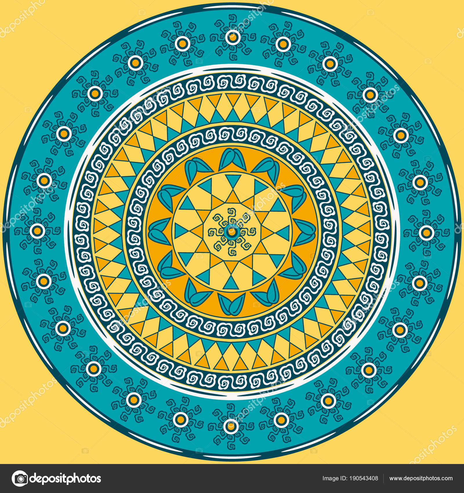 Vector circular pattern mandala of abstract geometric shapes
