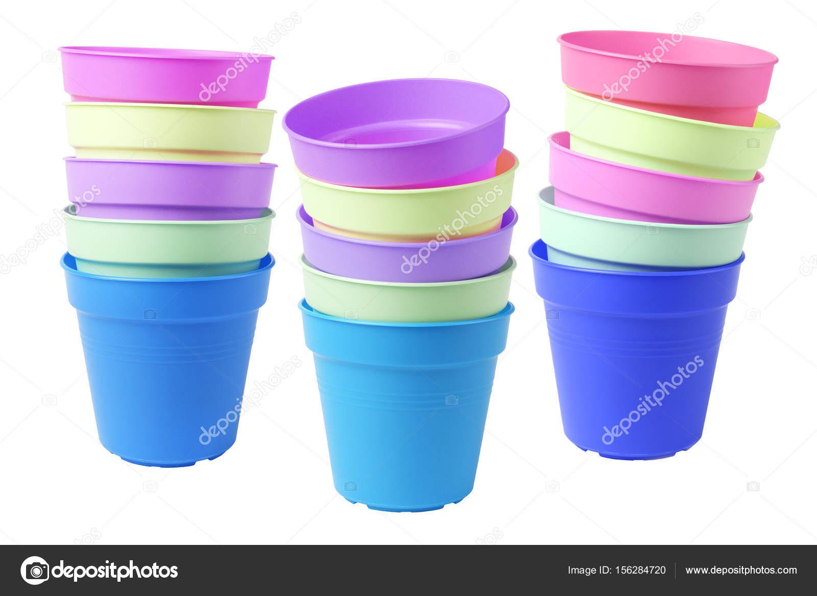Plastikowe Doniczki Kolorowe Zdjęcie Stockowe Design56