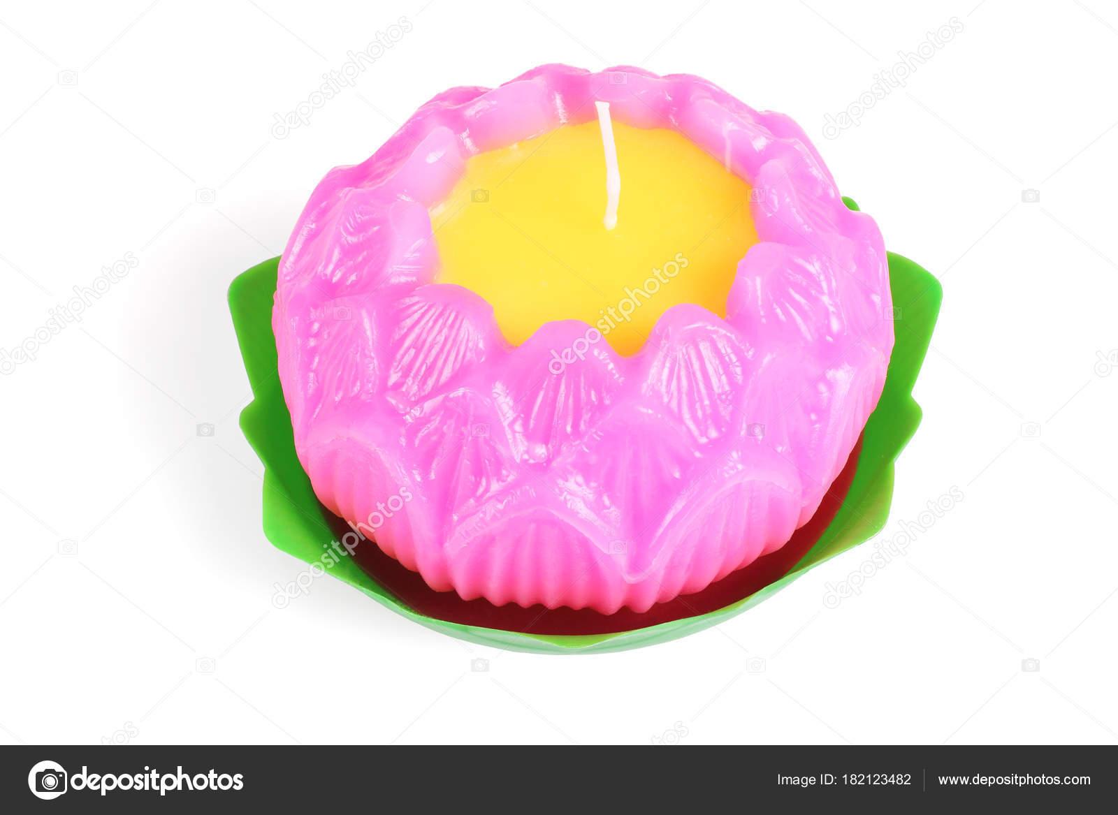 Buddhistische Lotus Flower Shape Wachskerze Stockfoto Design56