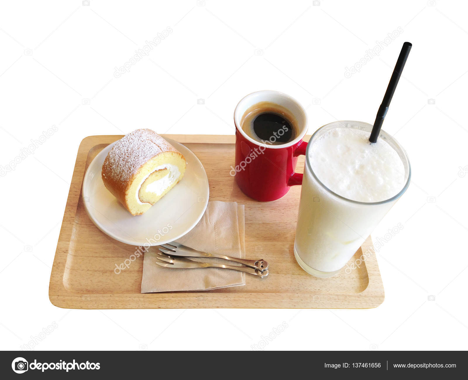 Japanese Style Roll Cake With Coffee And Milk Shake Isolated Oh