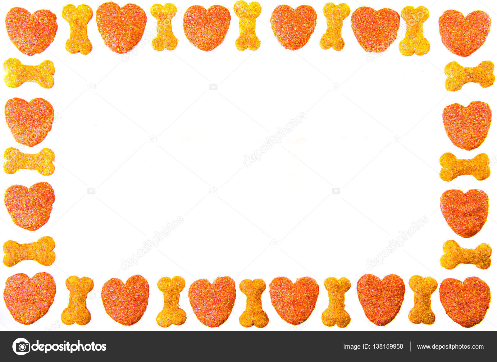 dog food frame or border on white background,cookies with copy ...