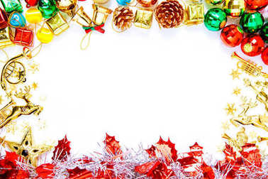 Frame of Christmas ornaments and decorations and copy space for