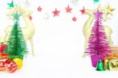 Christmas trees toy little bauble decoration ornaments on white