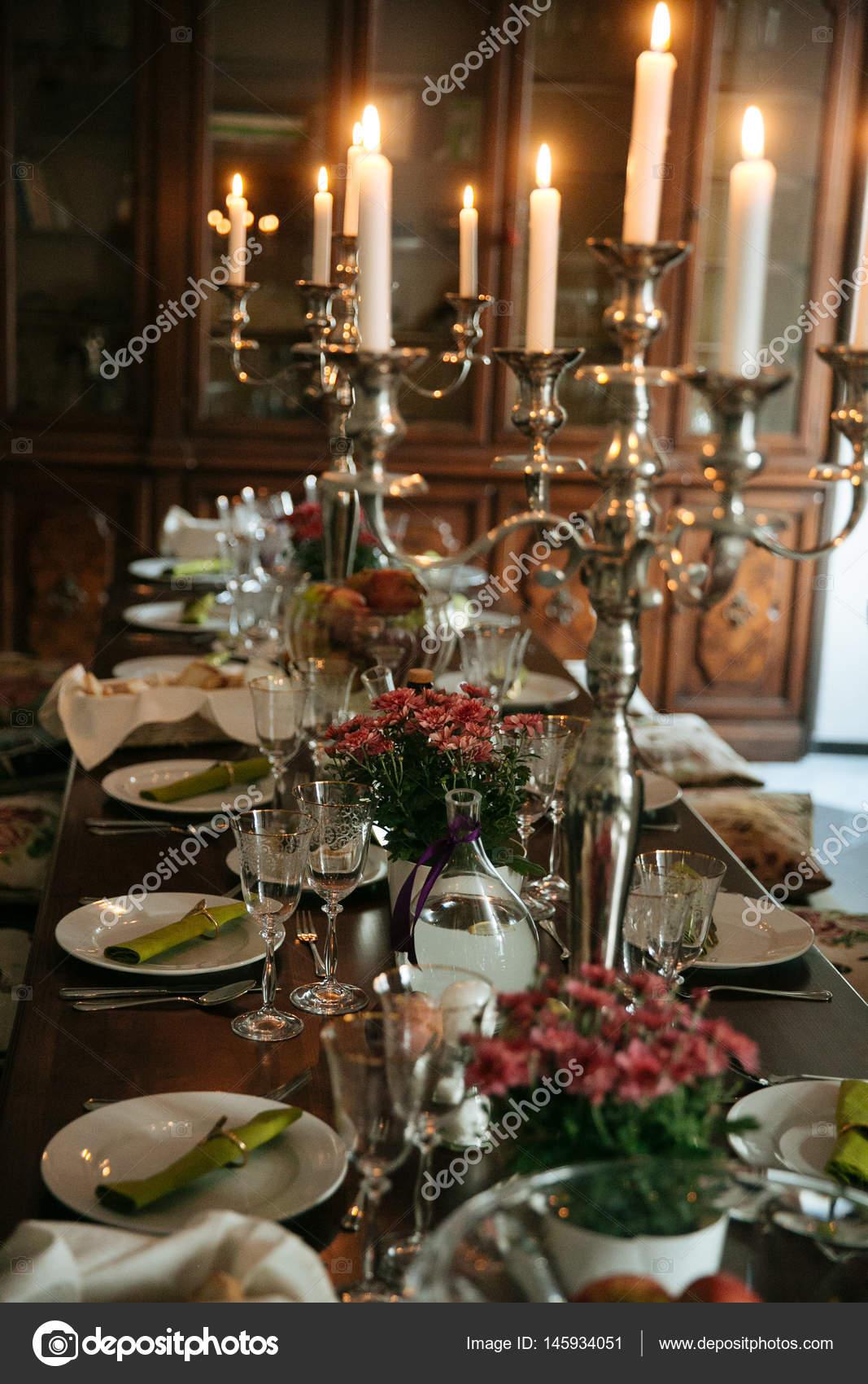 Elegant banquet table setting u2014 Stock Photo & Elegant banquet table setting u2014 Stock Photo © peterkarasev #145934051
