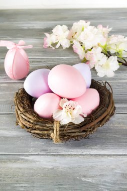 Perfect colorful handmade easter eggs in a nest with spring flowers on a wooden gray background. Happy Easter
