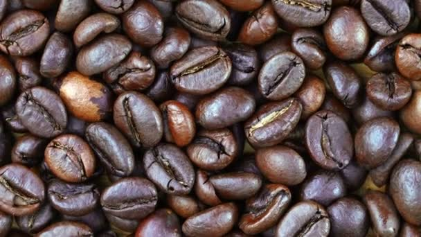 Footage close up coffee beans .