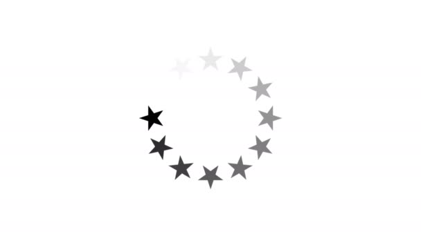 animace - načítání kruh ikonu hvězdičky na bílém pozadí s alfa kanálem. 4k video.