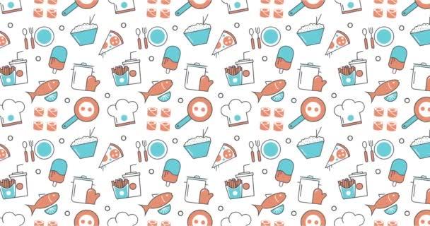moderní hladké textury pozadí plochý potravin, restaurace menu ikony.