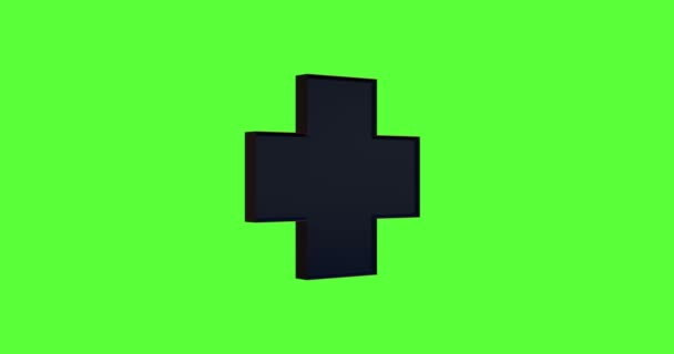 animation - 3d rotation loopable glossy cross isolated on chroma key background. Footage with alpha matte.