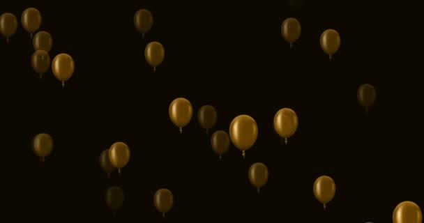 létající balónky zlaté na tmavém pozadí