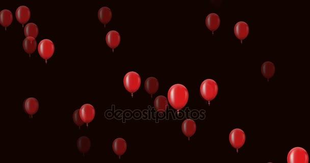animace létání červené balónky na tmavém pozadí.