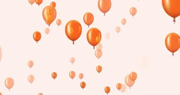 letící oranžové balónky na tmavém pozadí animace.